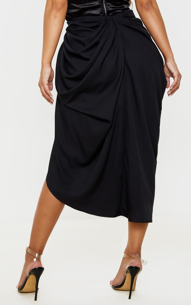 Petite Black Ruched Side Midi Skirt 4