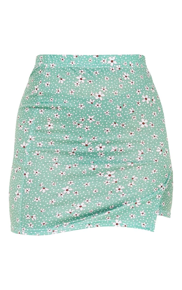 Petite Green Ditsy Floral Jersey Split Mini Skirt 6