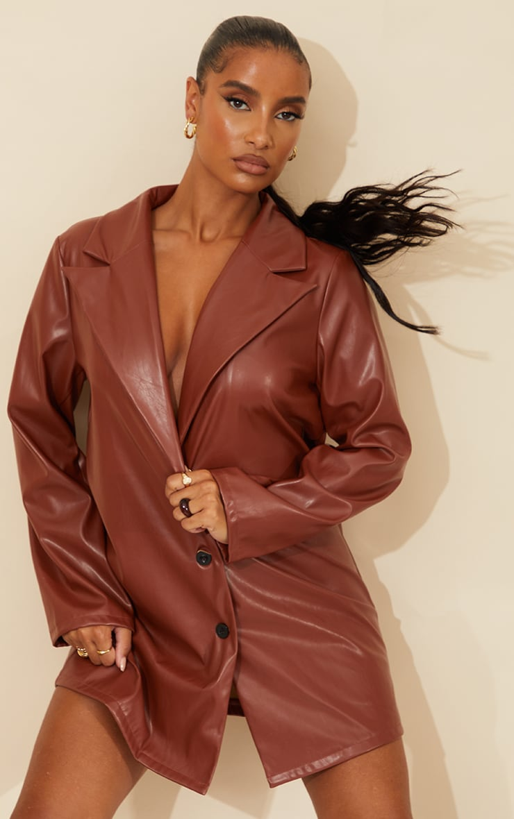 Chocolate Faux Leather Button Down Blazer Dress 1