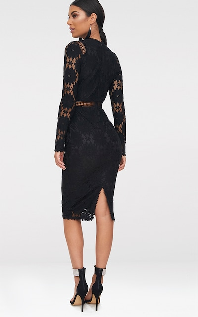 Caris Black Long Sleeve Lace Bodycon Dress
