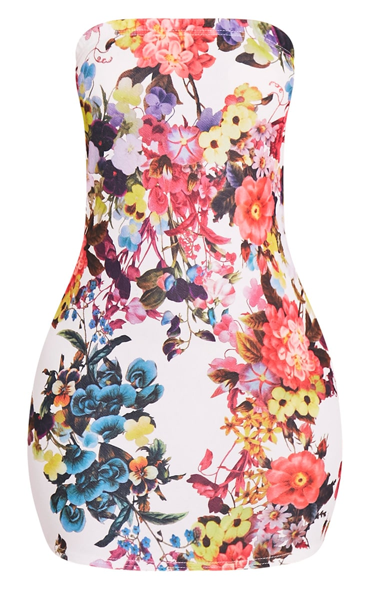 Dayana White Rose Print Bandeau Bodycon Dress 3