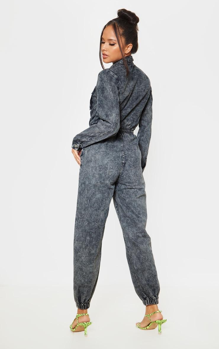 Black Acid Wash Zip Front Denim Jumpsuit 2