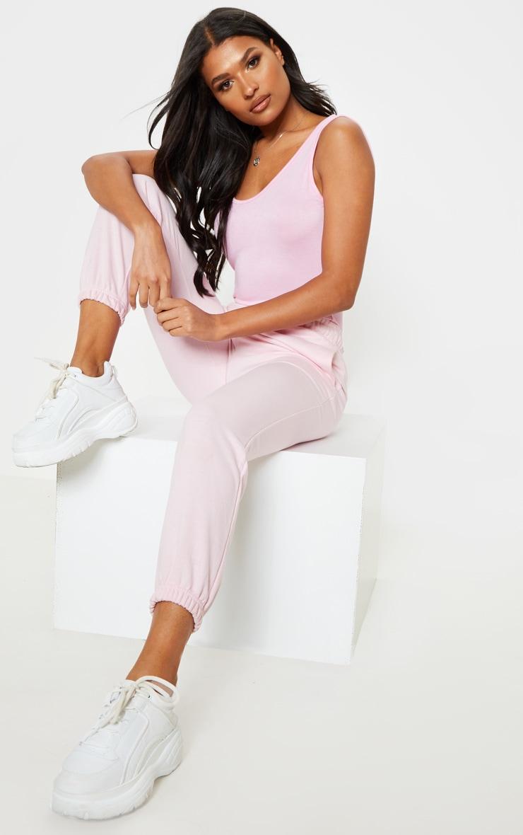 Basic Baby Pink Jersey Scoop Low Back Longline Vest 4