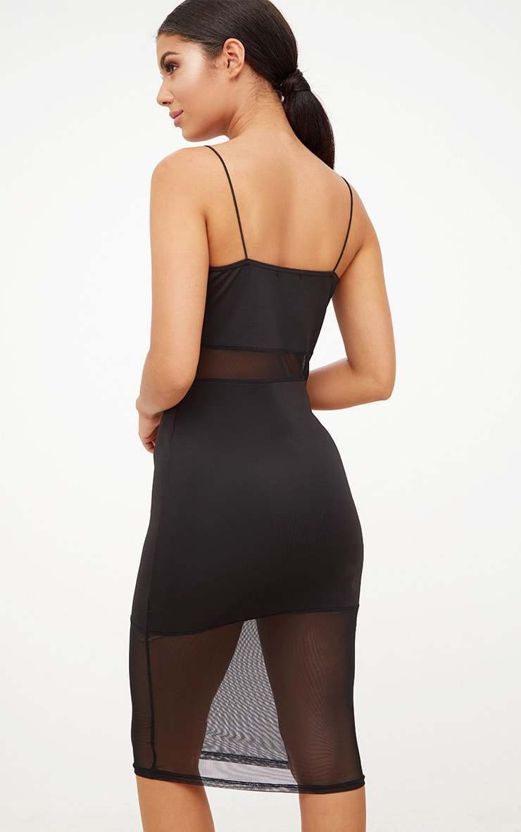 Black Plunge Strappy Mesh Panelled Midi Dress 3