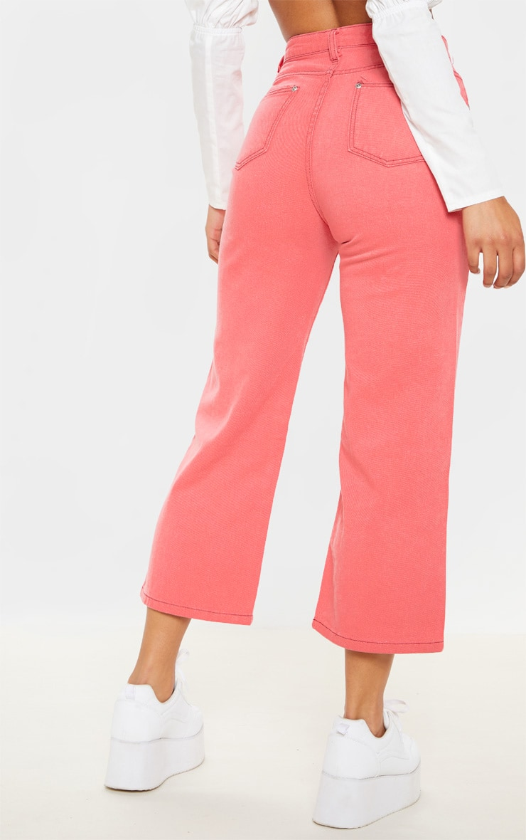 Washed Pink Wide Leg Utility Cargo Jeans 4