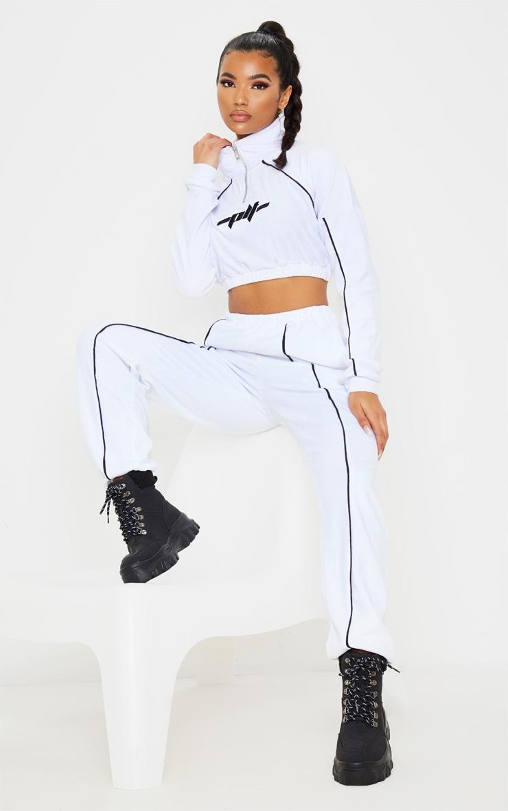 White Velour Contrast Stripe Jogger 1