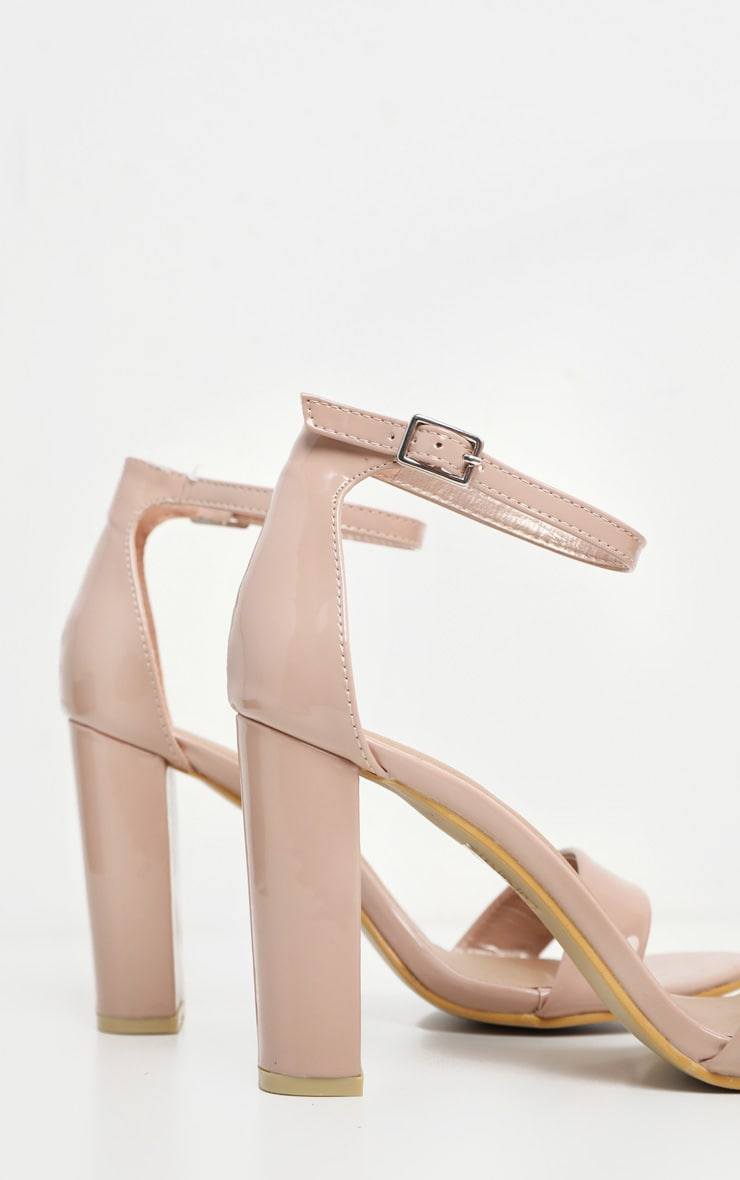 b5507495ea5 May Nude Patent Block Heeled Sandals