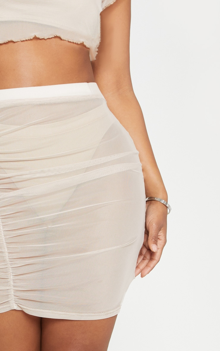 Shape Stone Sheer Mesh Ruched Bodycon Skirt  5