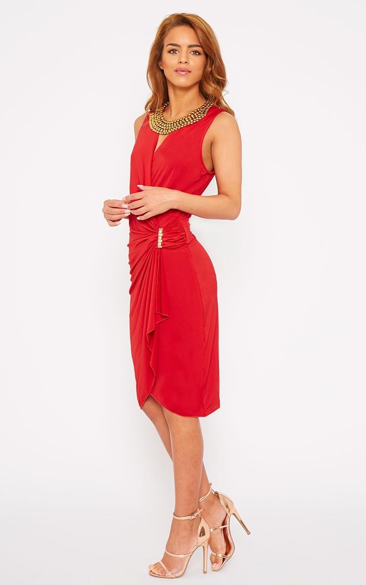 Clarissa Red Wrap Front Midi Dress 4