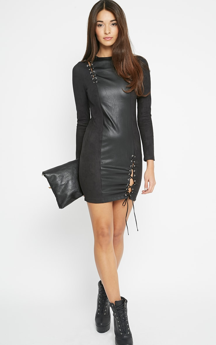 Audrey Black Lace Up Leather Panel Dress 4