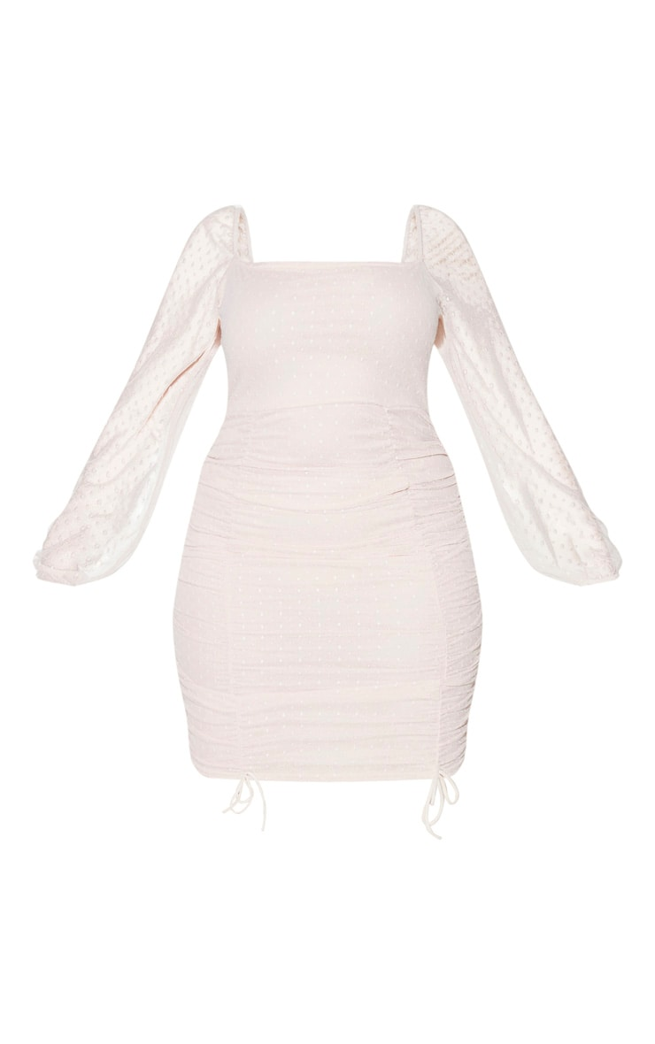 Plus Dusty Pink Dobby Mesh Square Neck Ruched Bodycon Dress 5