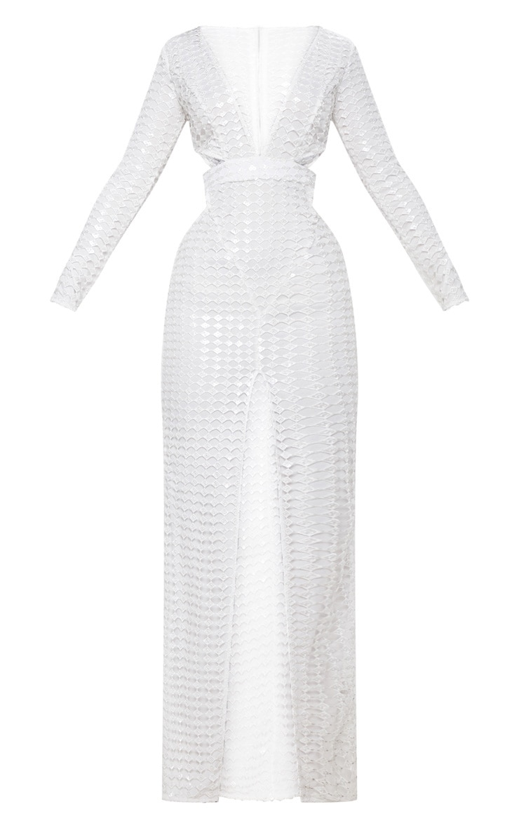 White Metallic Detailed Cut Out Plunge Maxi Dress 3