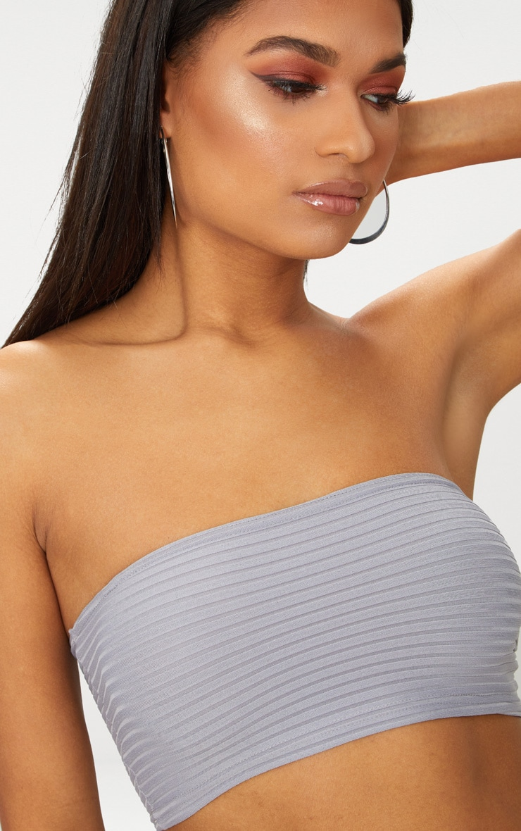 Grey Rib Bandeau Crop Top 5
