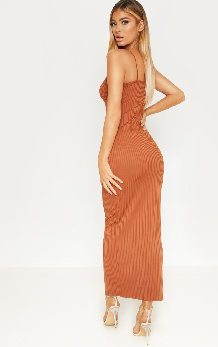 Rust Strappy Plunge Ribbed Midaxi Dress 2