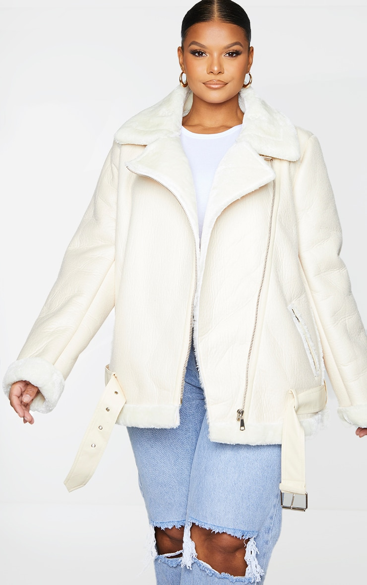Plus Cream Oversized PU Aviator 1