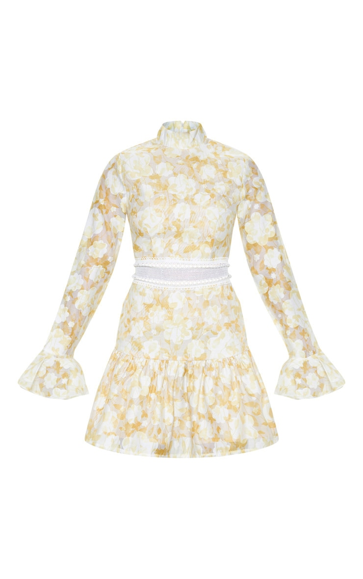 Petite Lemon Yellow Floral Flare Sleeve High Neck Frill Hem Dress 3