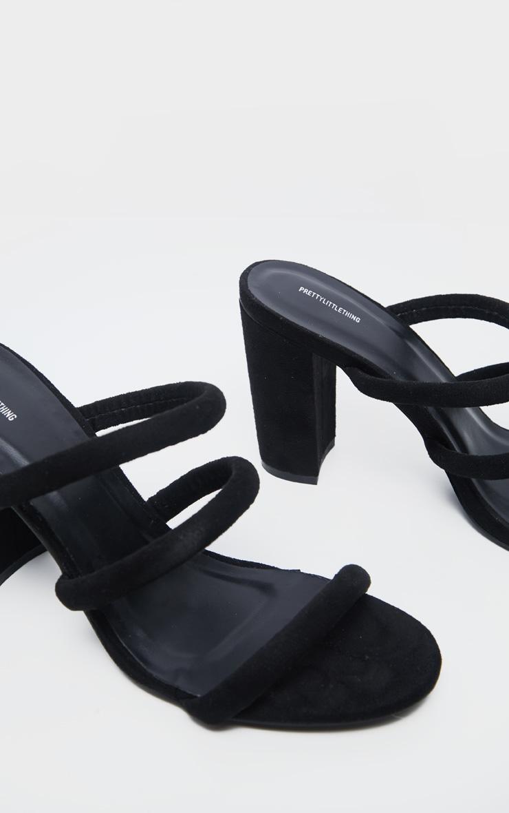 Black Triple Strap Mule Block Heel Sandal 4