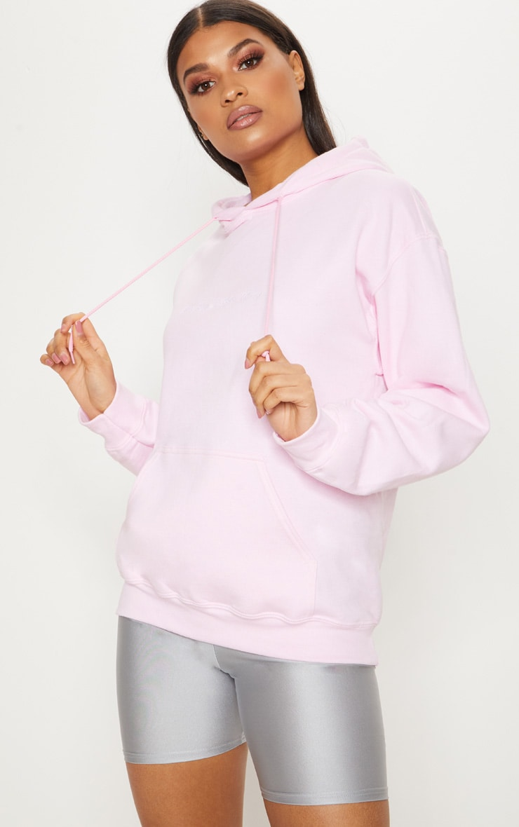 PRETTYLITTLETHING Light Pink Embroidered Oversized Hoodie 4