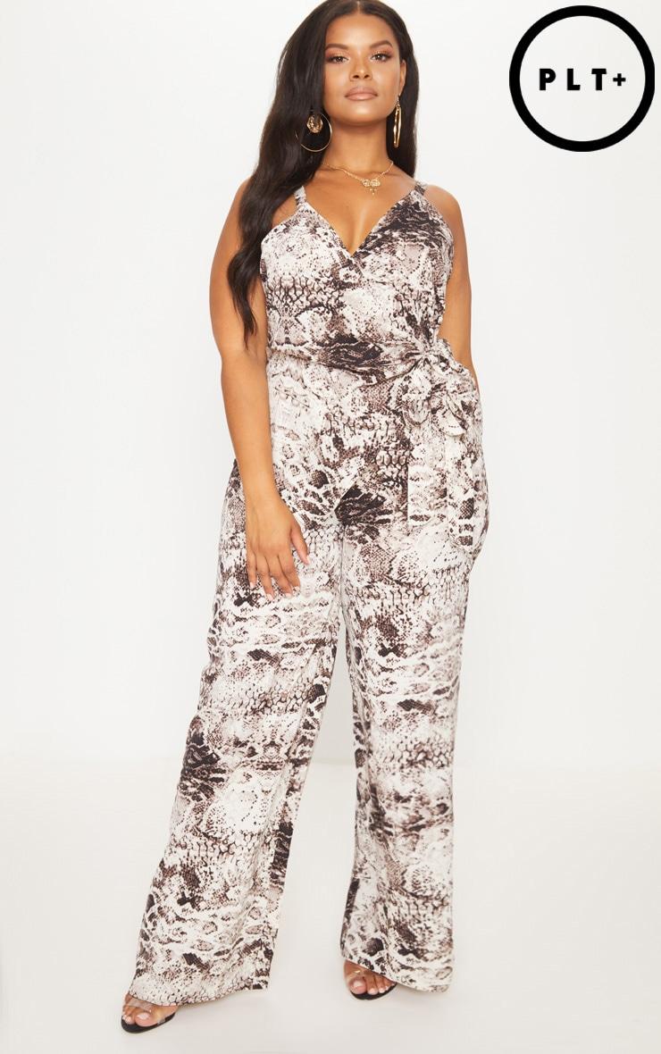 PLT Plus - Pantalon ample gris à imprimé peau de serpent