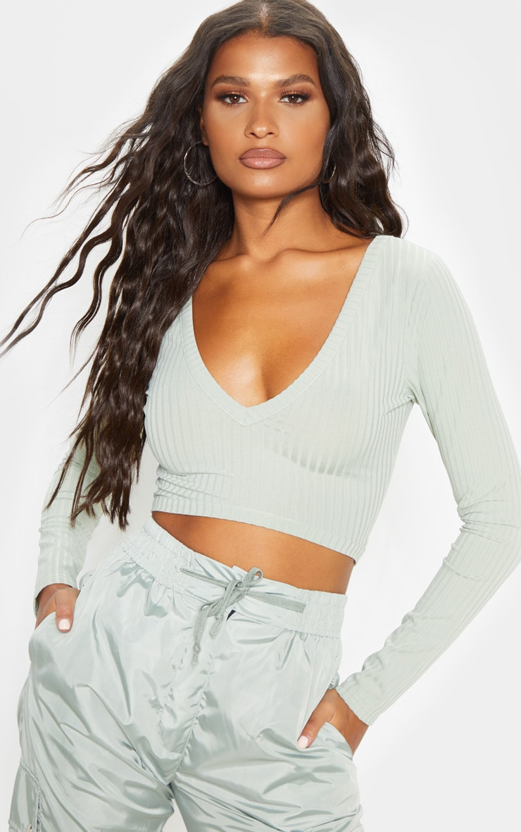 Sage Khaki Rib V Plunge Long Sleeve Crop Top 1