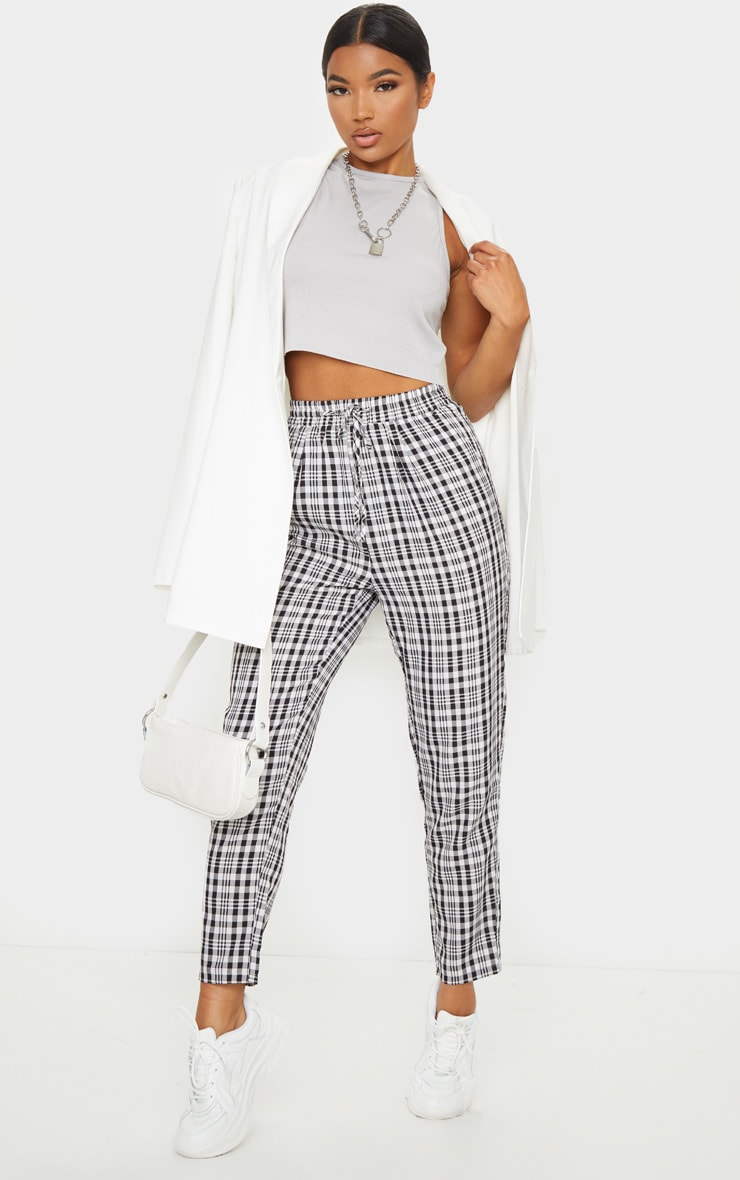 White Check Diya Casual Cigarette Trousers 1
