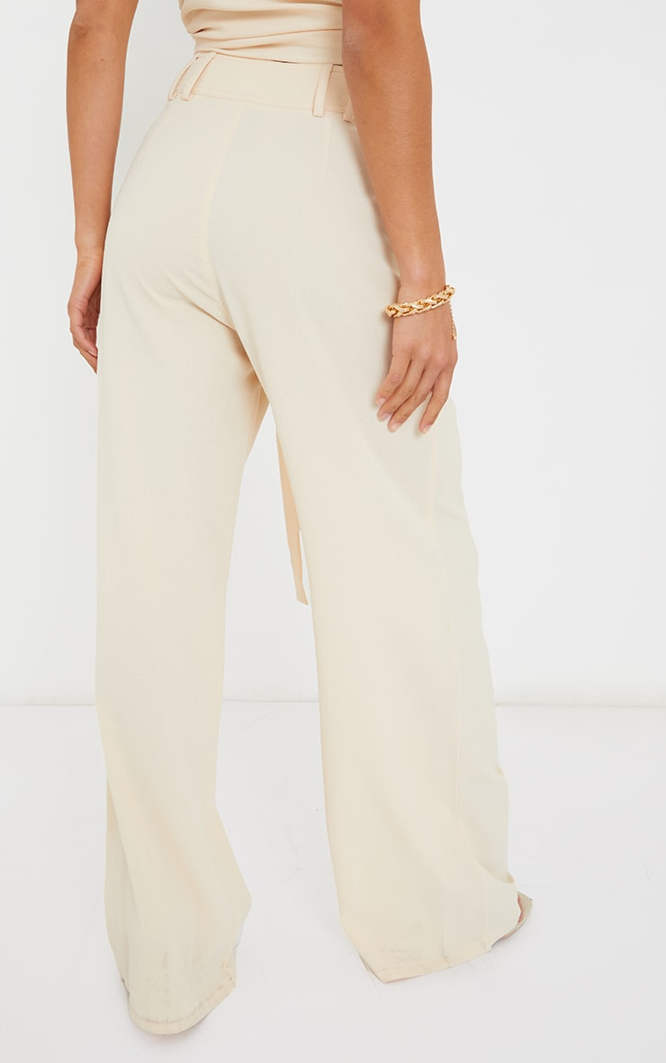 Petite Cream High Waisted Pocket Detail Trousers 3