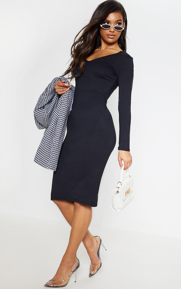 Black Jersey V Neck Long Sleeve Midi Dress 6