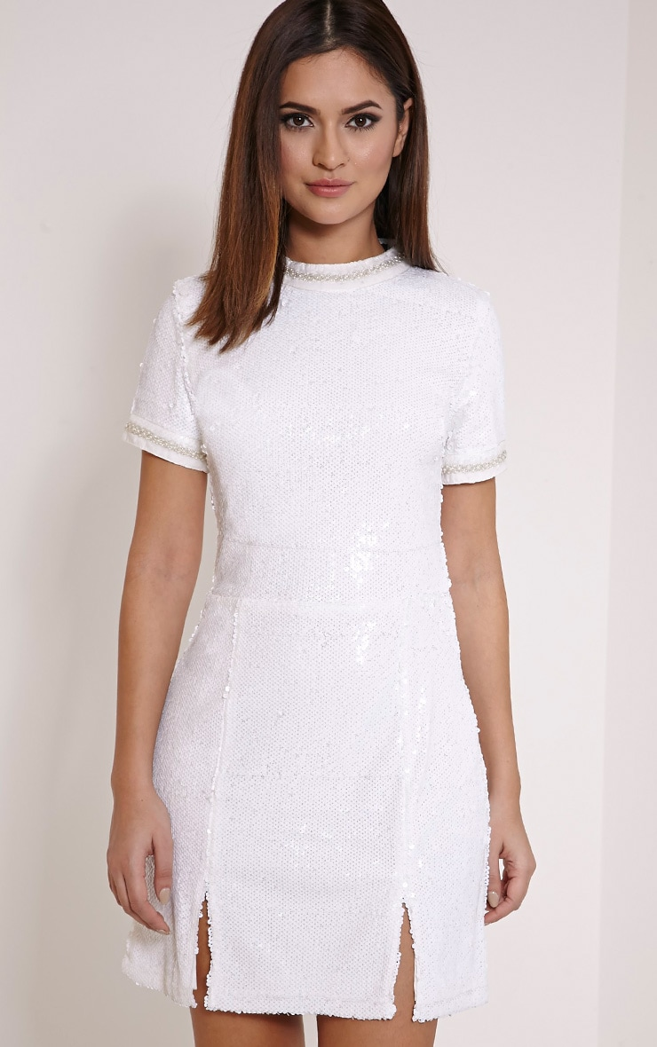 Seraphine White Bead Trim Sequin A Line Dress 1