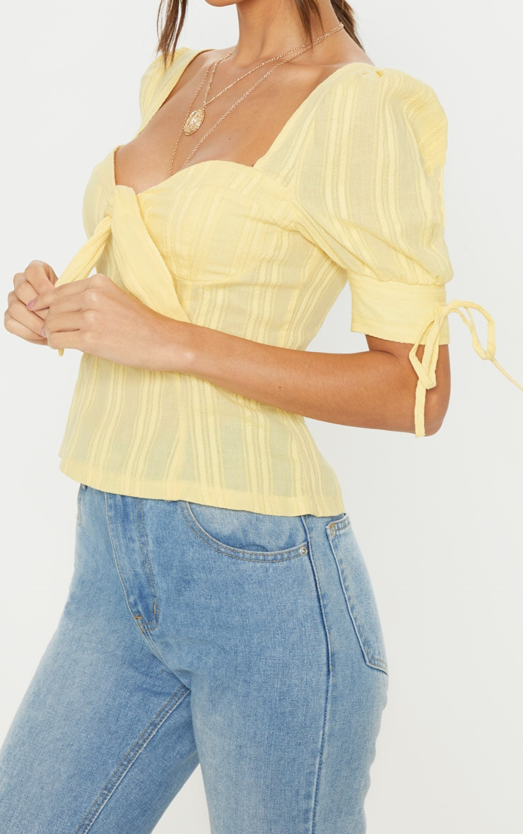 Lemon Crochet Cup Detail Short Sleeve Top 5