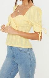Lemon Crochet Cup Detail Short Sleeve Top 5