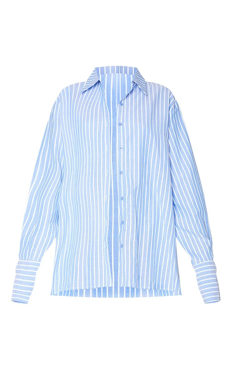 Blue Oversized Pinstripe Cuff Shirt 5