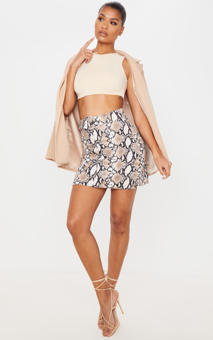 Stone Snake Print Belted Mini Skirt 1