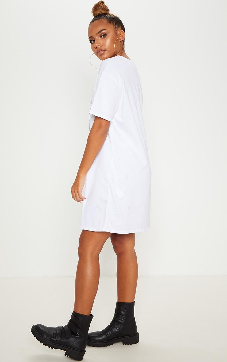 White Tupac Bandana Oversized T Shirt Dress  Prettylittlething-9051