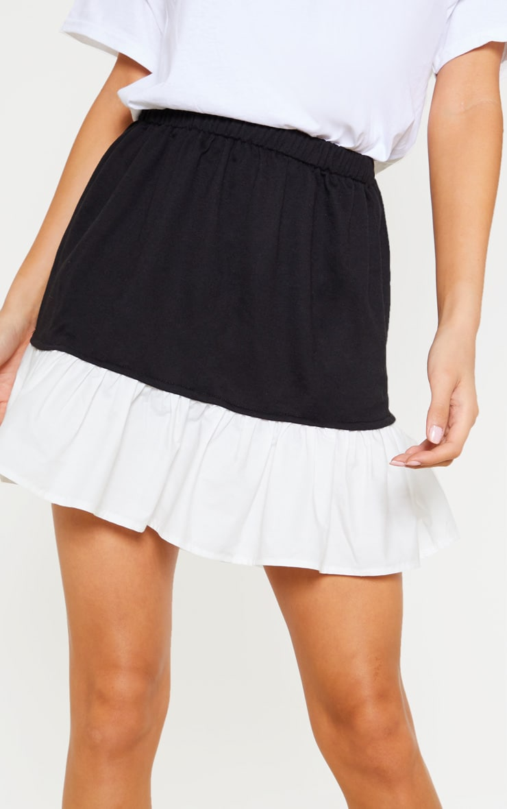 Black Poplin Contrast Frill Hem Mini Skirt  6