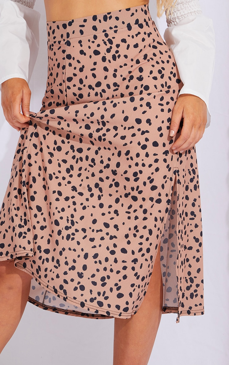 Tan Dalmatian Floaty Midi Skirt 4