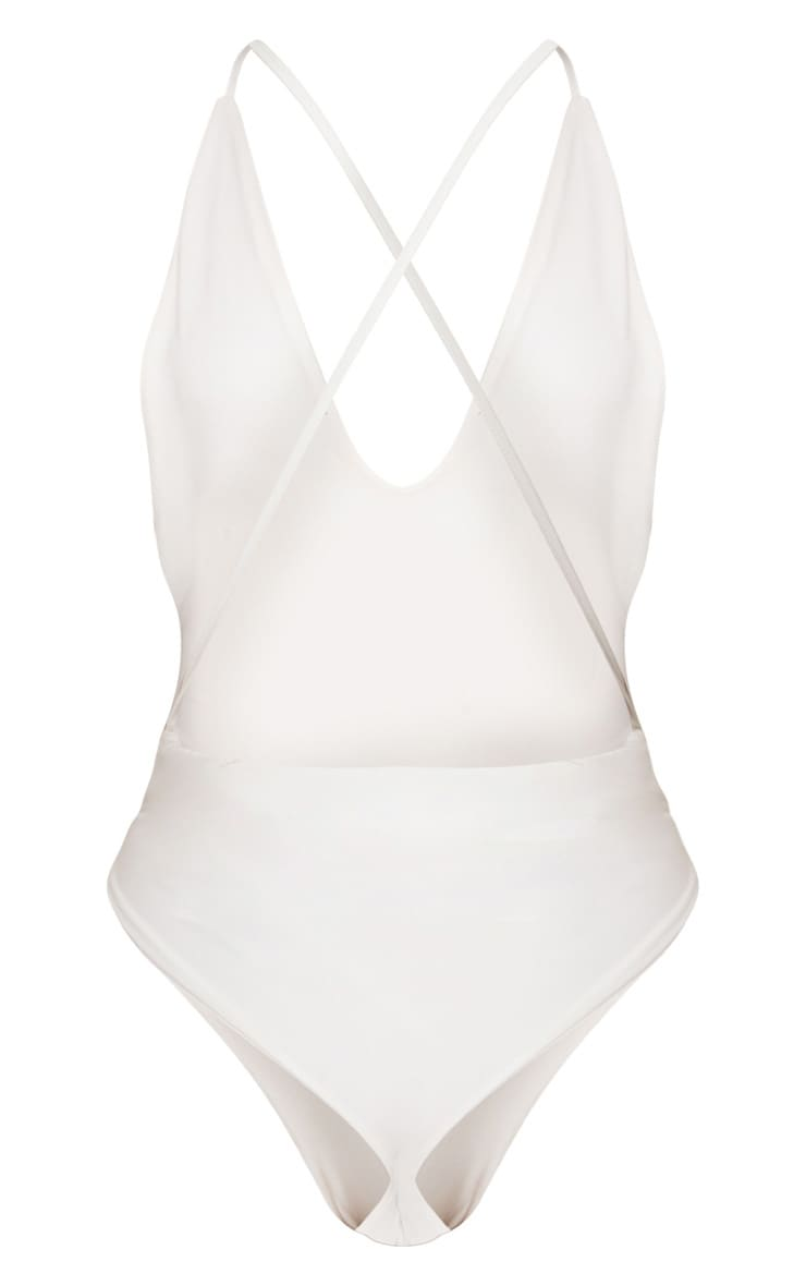 White The Bride Plunge Swimsuit 4