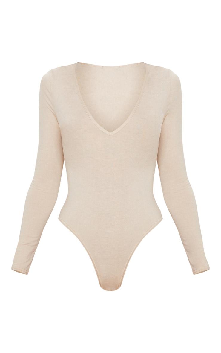 Basic Stone V Neck Long Sleeve Jersey Thong Bodysuit 3