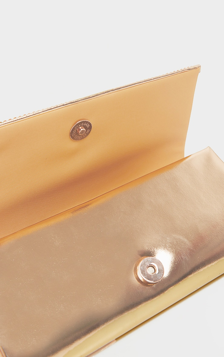 Gold Metallic Diamante Clutch Bag 3