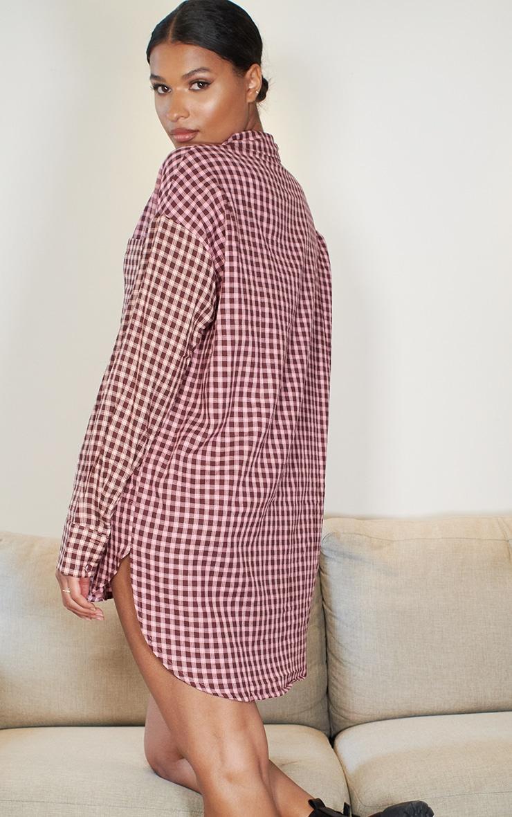 Pink Contrast Check Shirt Dress 2