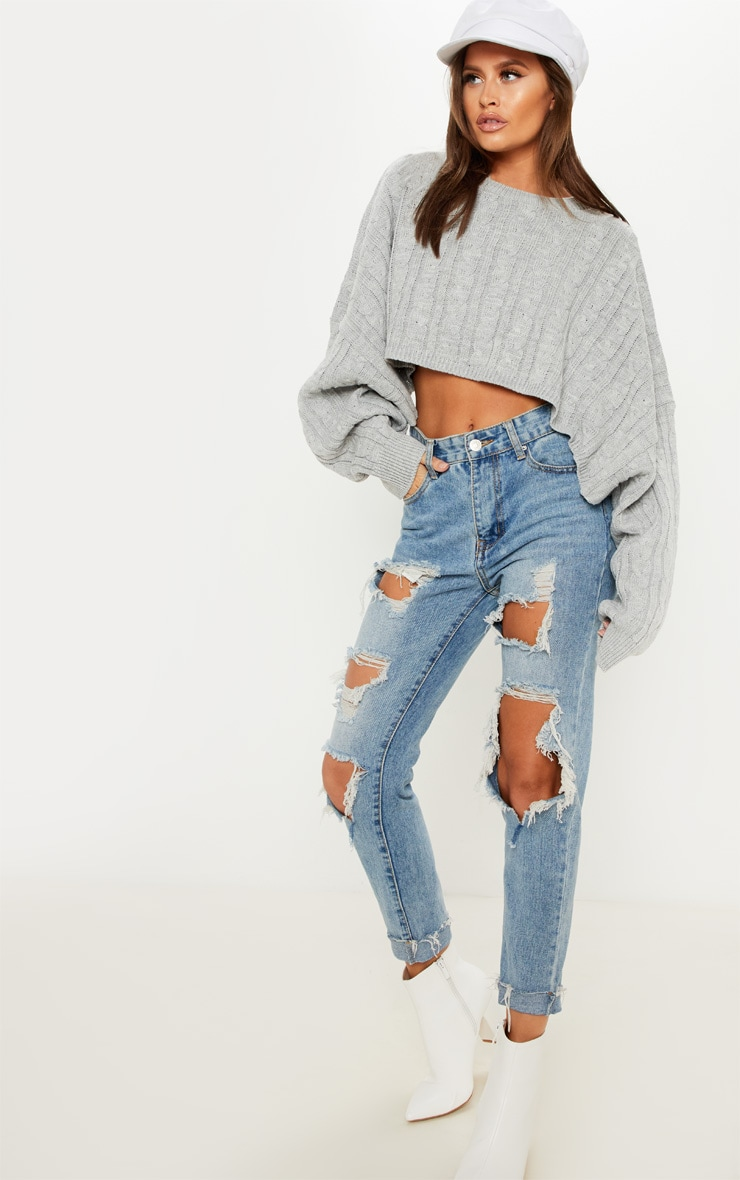 Grey Cable Cropped Knitted Sweater  4