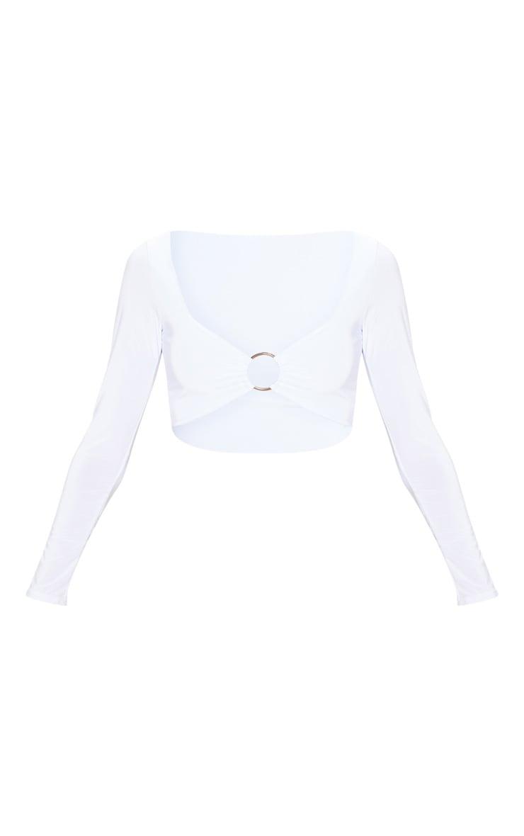 White Slinky O Ring Long Sleeve Crop Top 3