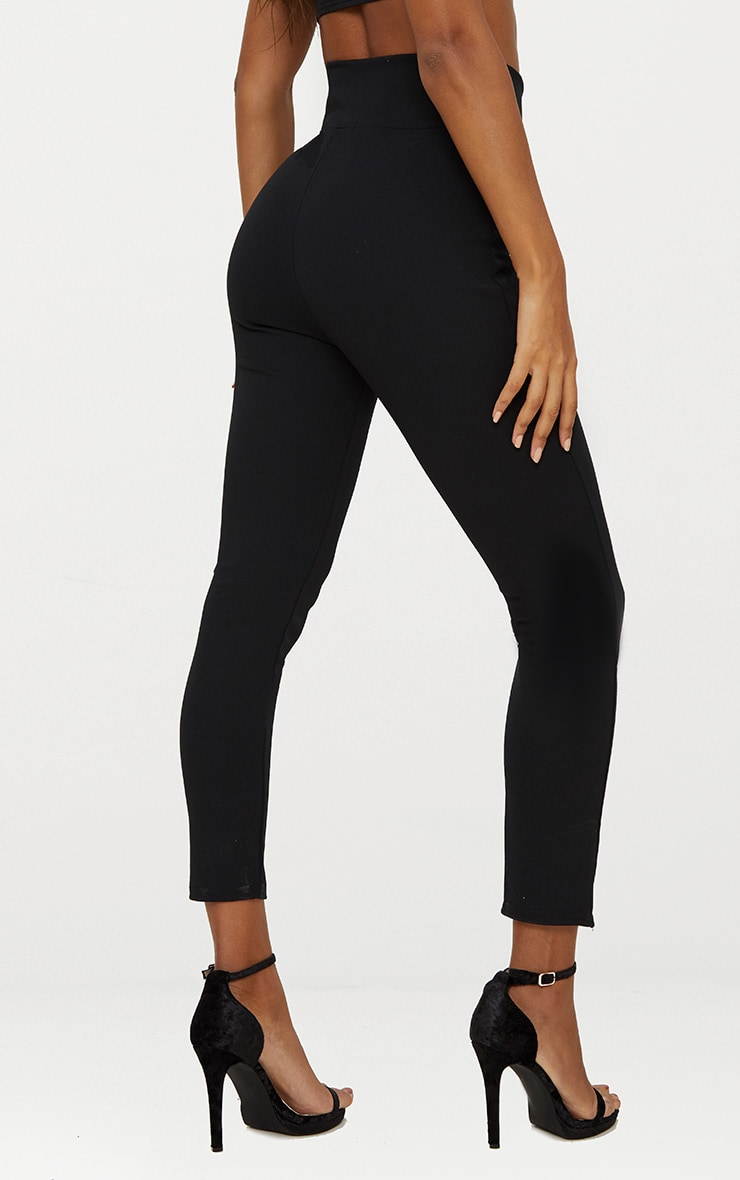 Black Cut Out Waist Skinny Trousers 4