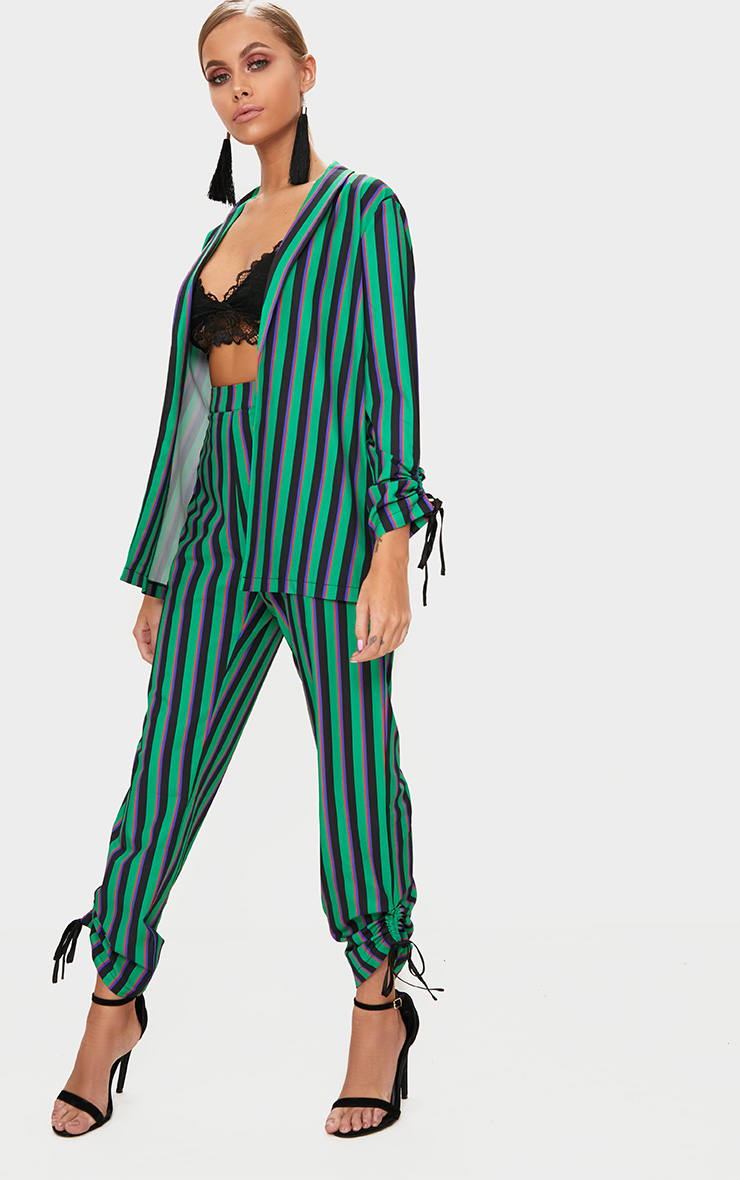 Bright Green Ruched Detail Suit Pants  1
