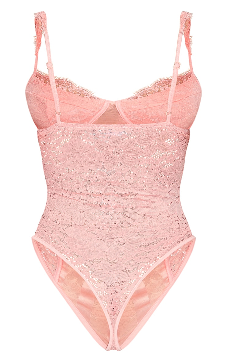 Shape Peach Lace Mesh Stripe Bodysuit 6