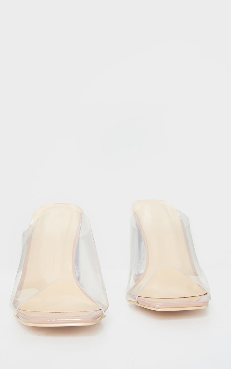 Nude Wide Fit Clear Flared Block Heel Mules 3