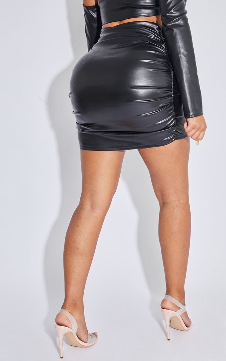 Shape Black Faux Leather Ruched Bodycon Skirt 3