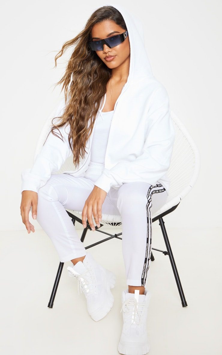 White Fleece Zip Up Hoodie 1