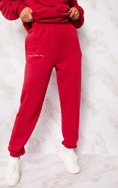 PRETTYLITTLETHING Scarlet Embroidered Jogger