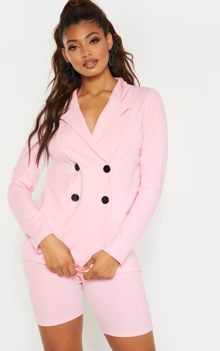 Tall Baby Pink Double Breasted Button Suit Jacket 1