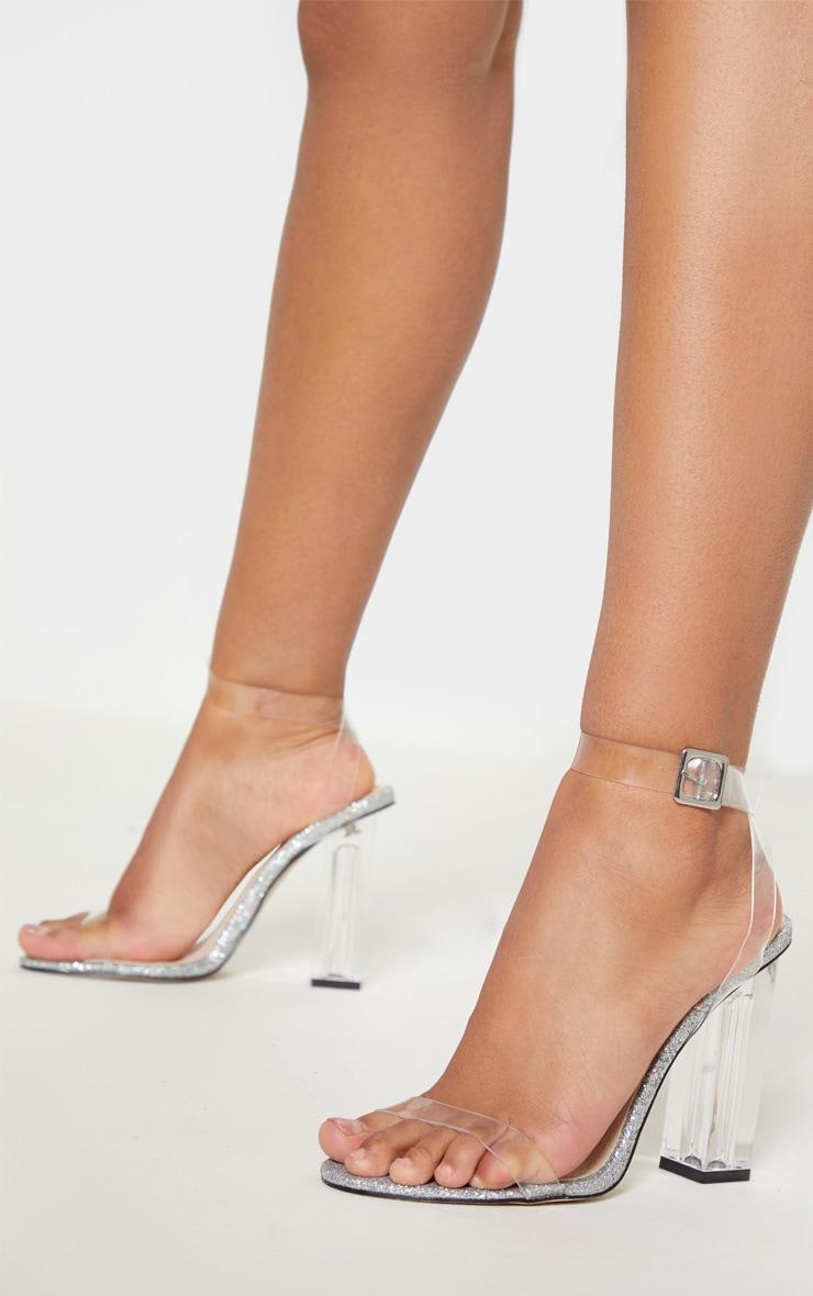 Silver Glitter Sole Clear Heels 2